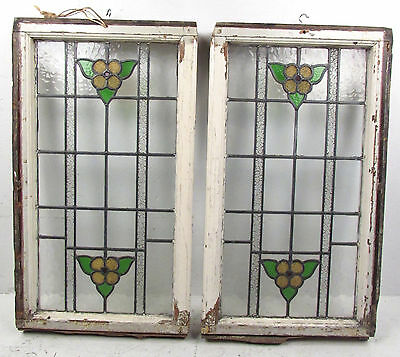 Pair of Vintage Antique Stained Glass Windows (2723)NJ 2