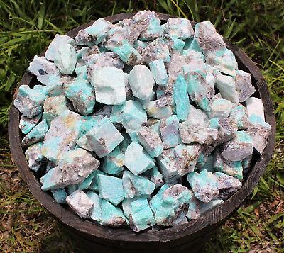 2000 Carat Lot Bulk Natural Rough Amazonite Crystal Healing Raw (400 Grams) 9