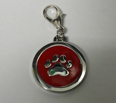 ENGRAVED PAW PRINT Pet Name Id Tag cat puppy dog collar 25mm nickel disc disk P 8
