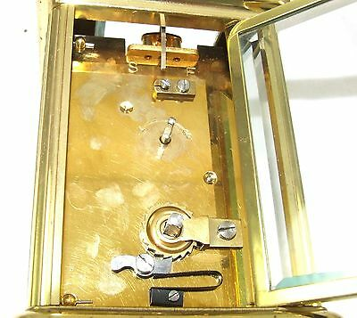 ENGLISH GARRARD & CO LONDON W1 Brass Carriage Mantel Clock & Key : Working (58) 8
