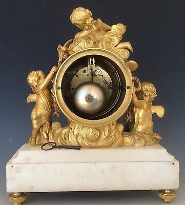 French Clock Garniture in  Gilt Bronze and Marble Circa 1880 12