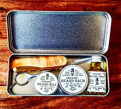 Organic Beard Oil, Balm, Wax, Comb, Scissors & Tin Grooming Kit by Revered Beard