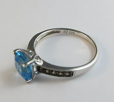 New Genuine Swiss Blue & Smoky Brown Topaz Ring 925 Sterling Silver Size 7 #006 5