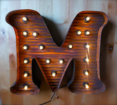 "LARGE VINTAGE STYLE LIGHT UP MARQUEE LETTER M, 24"" TALL industrial rustic sign 2"