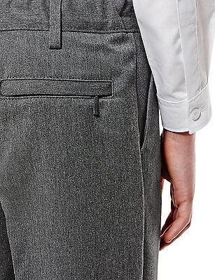 Ex M&S Plus Size Sturdy Fit Boys Black School Trousers Generous Fit Ages 2-16 10