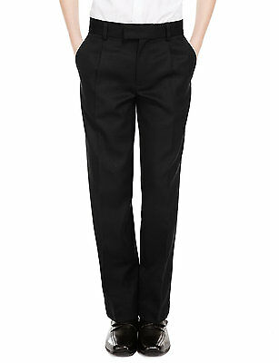 Ex M&S Plus Size Sturdy Fit Boys Black School Trousers Generous Fit Ages 2-16 2