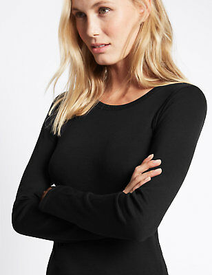 Ex Marks & Spencer  Pure Cotton Round Neck Long Sleeve T-Shirt Top Ex M&S 5