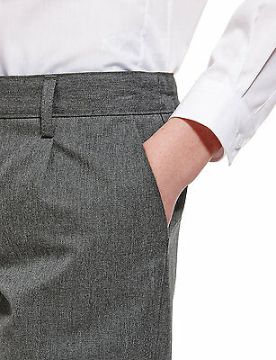 Ex M&S Plus Size Sturdy Fit Boys Black School Trousers Generous Fit Ages 2-16 7