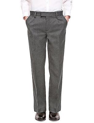 Ex M&S Plus Size Sturdy Fit Boys Black School Trousers Generous Fit Ages 2-16 8