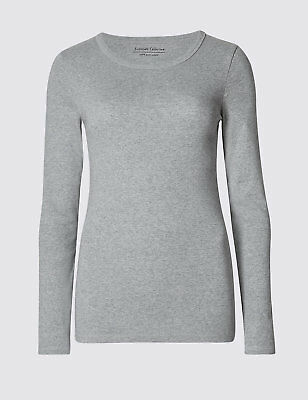 Ex Marks & Spencer  Pure Cotton Round Neck Long Sleeve T-Shirt Top Ex M&S 3