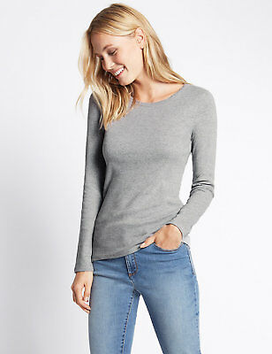 Ex Marks & Spencer  Pure Cotton Round Neck Long Sleeve T-Shirt Top Ex M&S 2