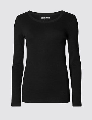 Ex Marks & Spencer  Pure Cotton Round Neck Long Sleeve T-Shirt Top Ex M&S 4