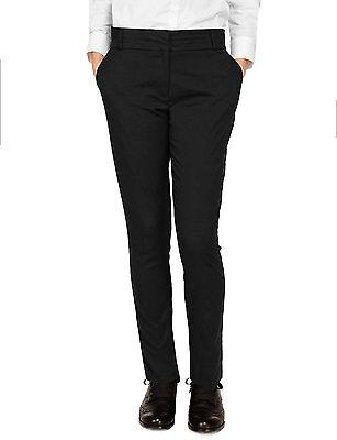 Ex-M&S Girls Slim Fit School Trouser Ages 3 - 16 Black Grey Navy Narrow Leg 3