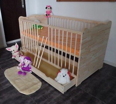 Babybett Gitterbett Kinderbett Komplet Set 70x140 UMBAUBAR 5 Farben Schublade 3