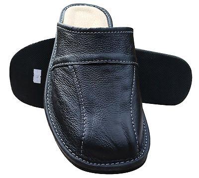 Cuir pour Hommes Chaussures Pantoufles, Sandales, Mules à Enfiler, Noir - Taille 4