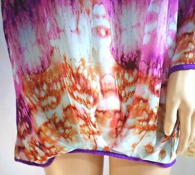 Divine Doll Women Plus Size 1x 2x 3x Pink Hi Lo Tie Dye Batik Top Blouse Shirt