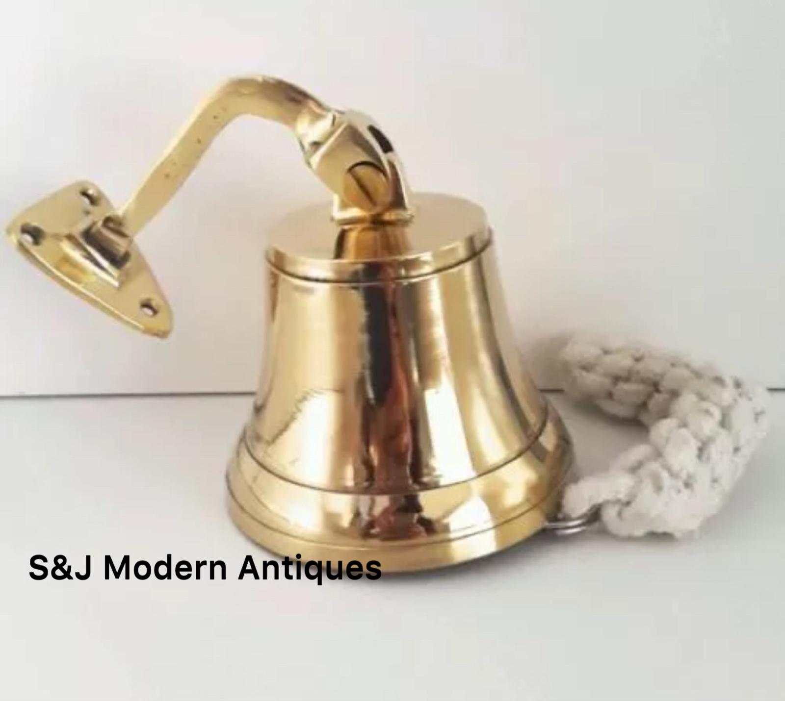 Antique Brass Wall Bell Vintage Ship's School Pub Last Orders Dinner Door 3 inch 10