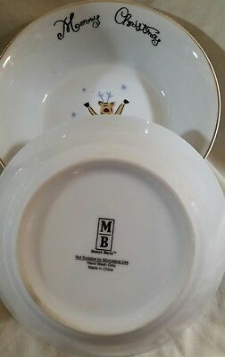 """NEW Merry Brite 4 Christmas Soup/Cereal Bowls Santa, Reindeer, Gift & Tree 61/2"""" 5"""