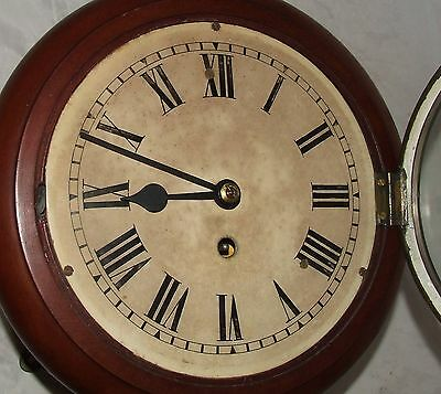 # Antique  rare 8 inch Dial CHAIN Fusee Mahogany Wall School Clock c1900 4