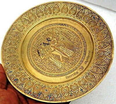 VINTAGE EGYPT AIR brass PLATE Pharaoh Royal Musical Isis For Love 2