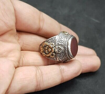 Beautiful Old Yemani Agate Stone Solid Silver And Gold Plated Unique Ring #H85 4