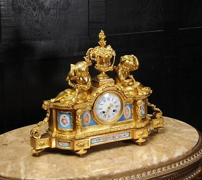 Large Antique French Ormolu And Sevres Porcelain Clock Cherubs Stunning 1850 3