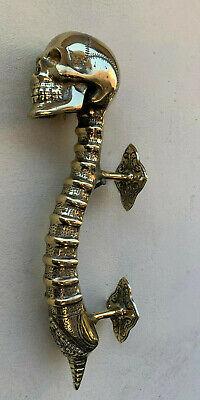 """large SKULL handle DOOR PULL spine 13"""" POLISHED BRASS old vintage style 33 cm B 2"""