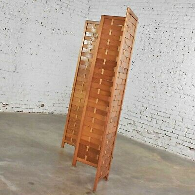 Mid Century Woven Wood Folding Screen 4 Panel Room Divider in Pine 5