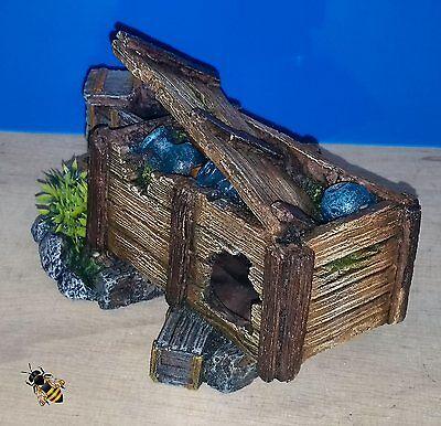 Aquarium Ornament Wood Crate Decoration Fish Bowl Tank Goldfish New 4