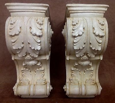 Pair Antique Finish Shelf Acanthus leaf Wall Corbel Sconce Bracket Vintage 3
