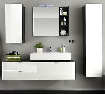 Badmöbel Badezimmer Set Bad Komplett Mit Waschbecken Weiß Hochglanz
