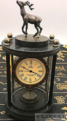Asian collection of old handmade copper carved deer mechanical watch 3