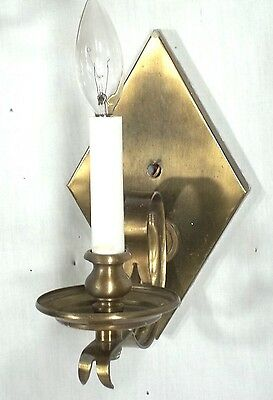 Pair Of Mid Century Modern Diamond Back Scrolled Arm Brass Sconces 5