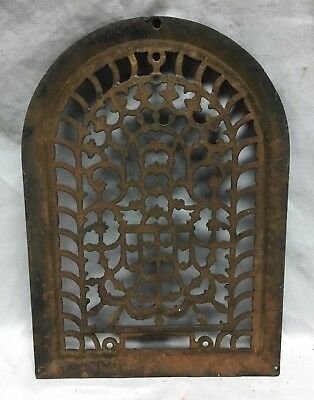 One Antique Arched Top Heat Grate Grill Stars Flowers Pattern Arch 10X14 634-18C 2
