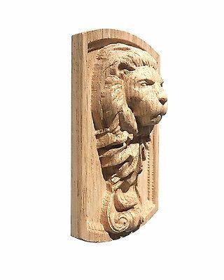 Poplar Cherry Hard Maple Mahogany Red Oak Hand carved Lion Head  Applique