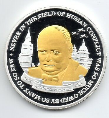 Winston Churchill Gold & Silver Coin Union Jack World War II 1874 1965 I Sir UK 8