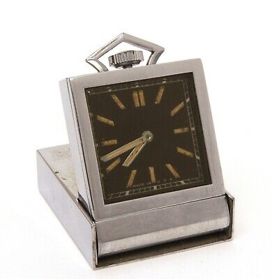 Art Deco Folding Travel Clock Red & Cream Enamel PART & REPAIR 3