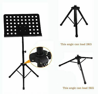 Heavy Duty Metal Foldable Music Stand Holder Tripod Orchestral Conductor Sheet 10
