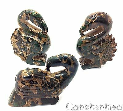Extremely Beautiful And Rare 3 Swan Collection Old Chinese Jade Hand-Carved 2