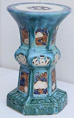 "20"" Antique Chinese Flambe Drip Glaze Pottery Turquoise Porcelain Alter Table 5"