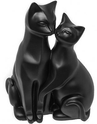 PAIR OF BLACK CATS ORNAMENT STYLIZED CAT FIGURINE - Ideal Gift For Cat Lovers 2