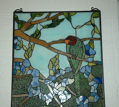 "20"" x 34"" Tiffany Style stained glass window panel 2 parrots birds 9"