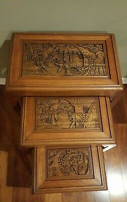 Antique Carved Rosewood Asian Nesting / Stacking Tables Set of Three 4