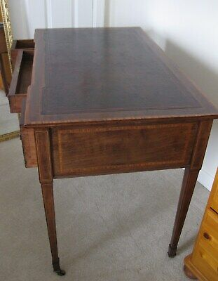 Antique Victorian Mahogany Leather Top Inlaid Desk / Lady's Desk / Writing Table 5