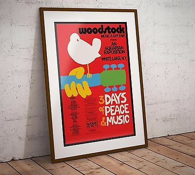 Woodstock Restored Rare Concert Three Print Options or Framed Poster EXCLUSIVE
