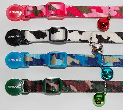 Ancol Cat Collar in 4 Camouflage Colours with a FREE ENGRAVED PET ID TAG & Ring 2