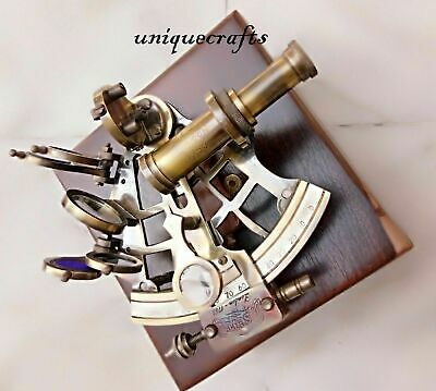 """Nautical Solid Brass Working Sextant 5"""" W/Wood Box Marine Astro Christmas Gift 3"""