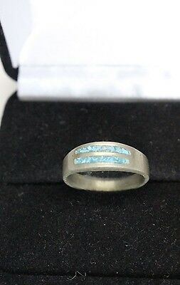Antique Sterling Silver Signed MEX turquoise chip inlay Ring size 6 4