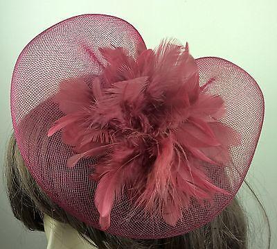 dark red feather fascinator millinery burlesque wedding hat bridal race ascot 1 2