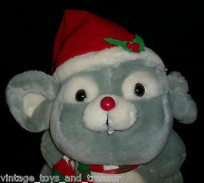 18 Vintage Russ Berrie Mischief Gray Christmas Mouse Stuffed Animal